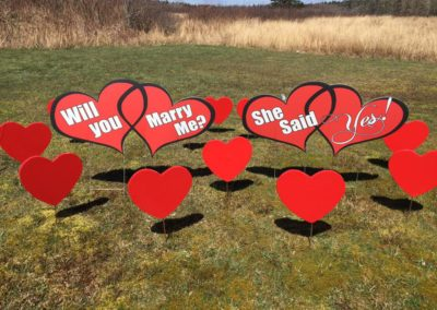 """Will you marry me?"" & Red Hearts Lawn Displays"
