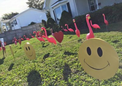 Flamingo, Happy Faces & Red Hearts Lawn Displays