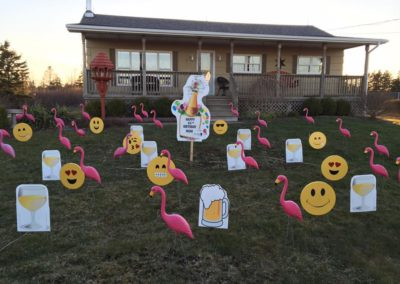Emoticons, Beer, Flamingo & Happy Birthday Lawn Displays