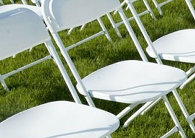 Poly Plastic White Chairs - $3